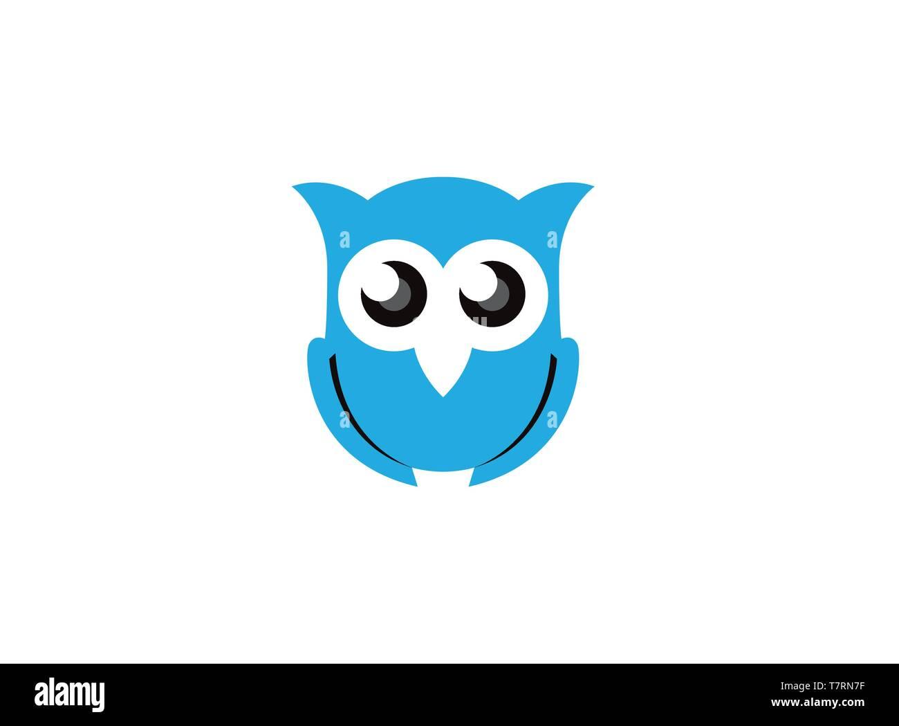 Blue owl open eyes for logo - Stock Vector
