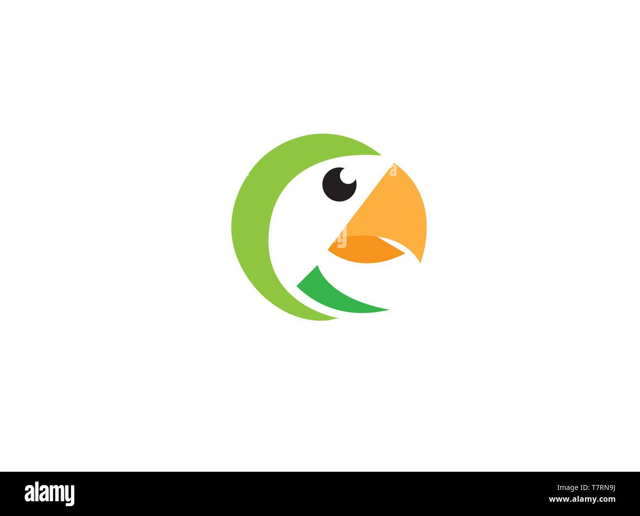 Parrot bird head with yellow beak for logo Stock Vector