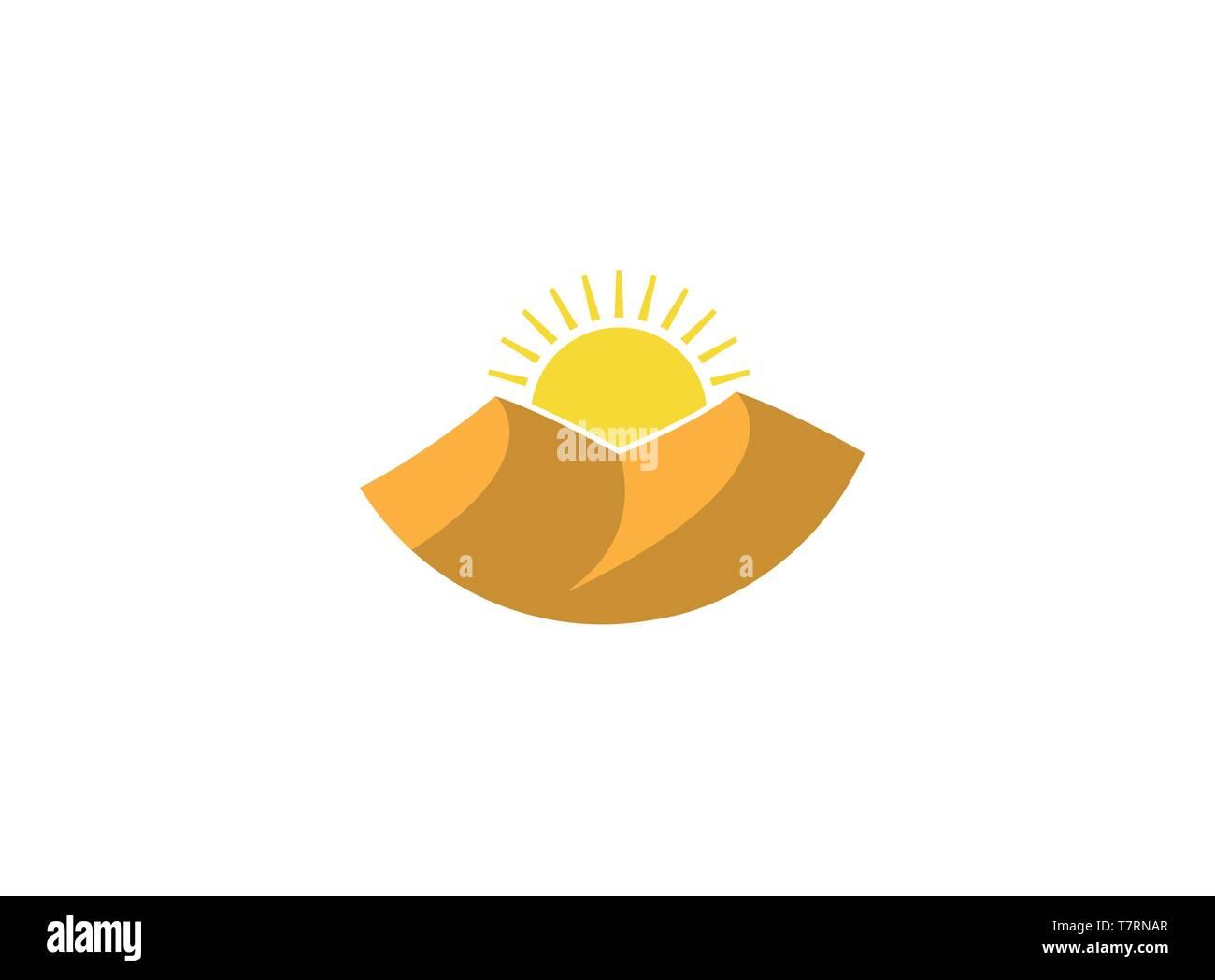 dunes of sands and hot sun shining in desert for logo esign illustration - Stock Image