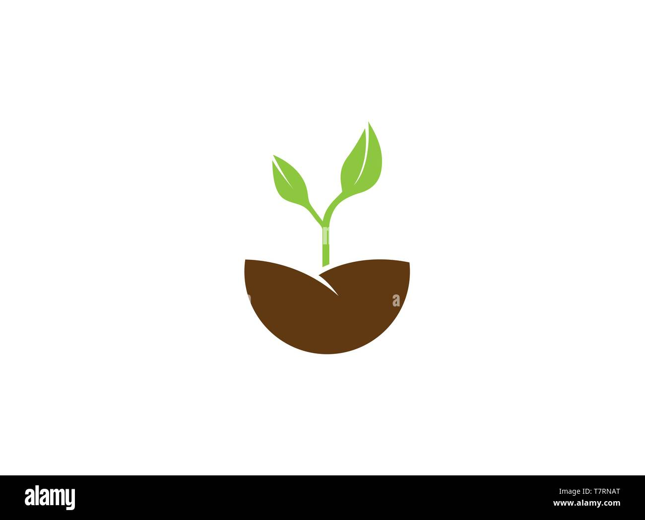 Farming growing Plants with leaves for logo - Stock Vector