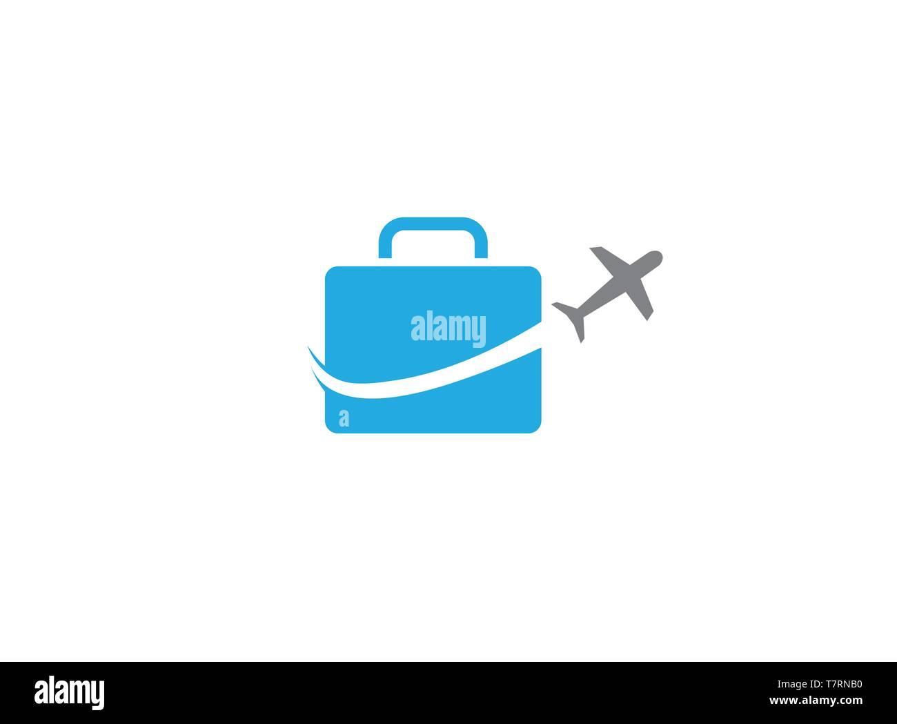 plane take off around a big bag a business travel for logo - Stock Vector