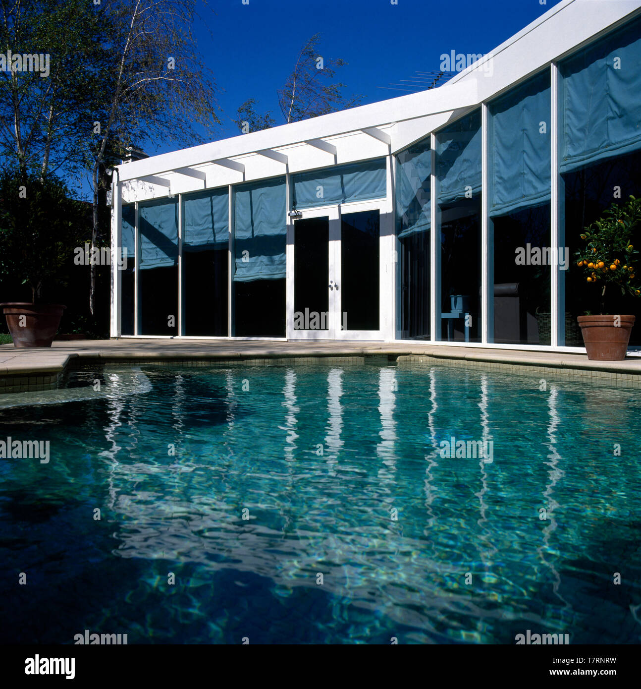 Turquoise swimming pool in front of a modern house with ...