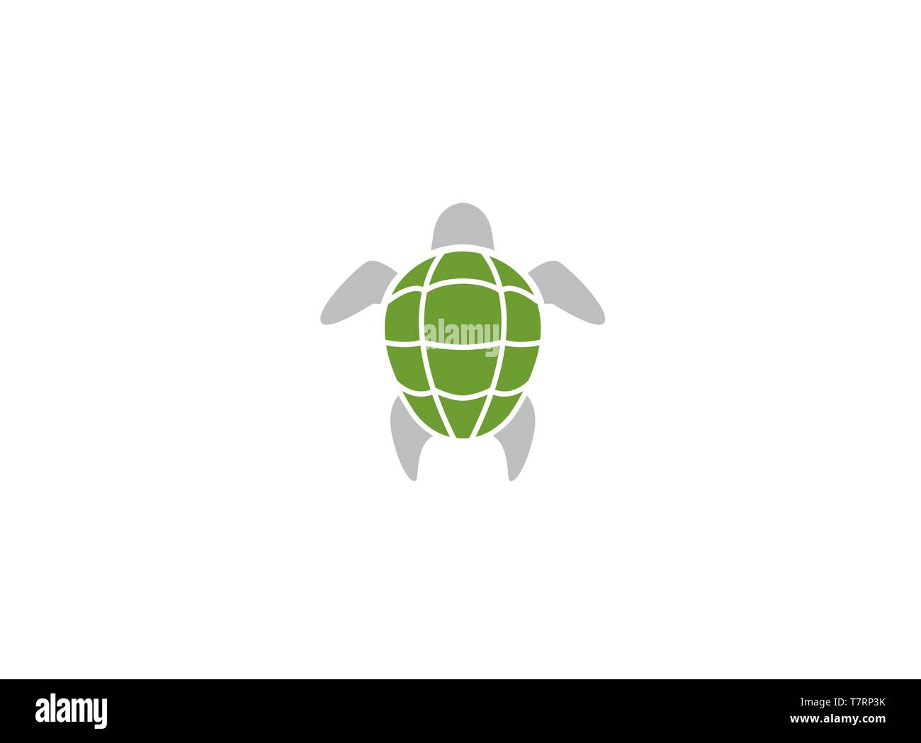 Turtle with green shell swimming for logo Stock Vector
