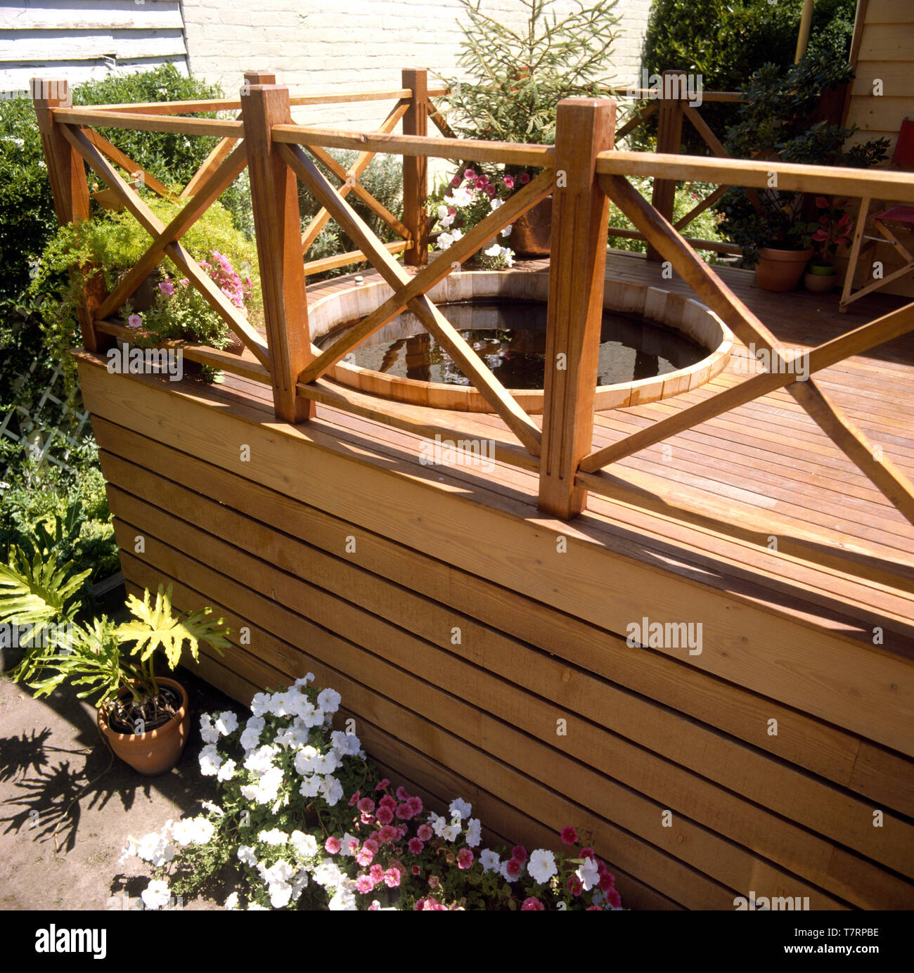 Petunias In Pots Below Raised Decking With A Circular Hot Tub In An Urban Garden Stock Photo Alamy