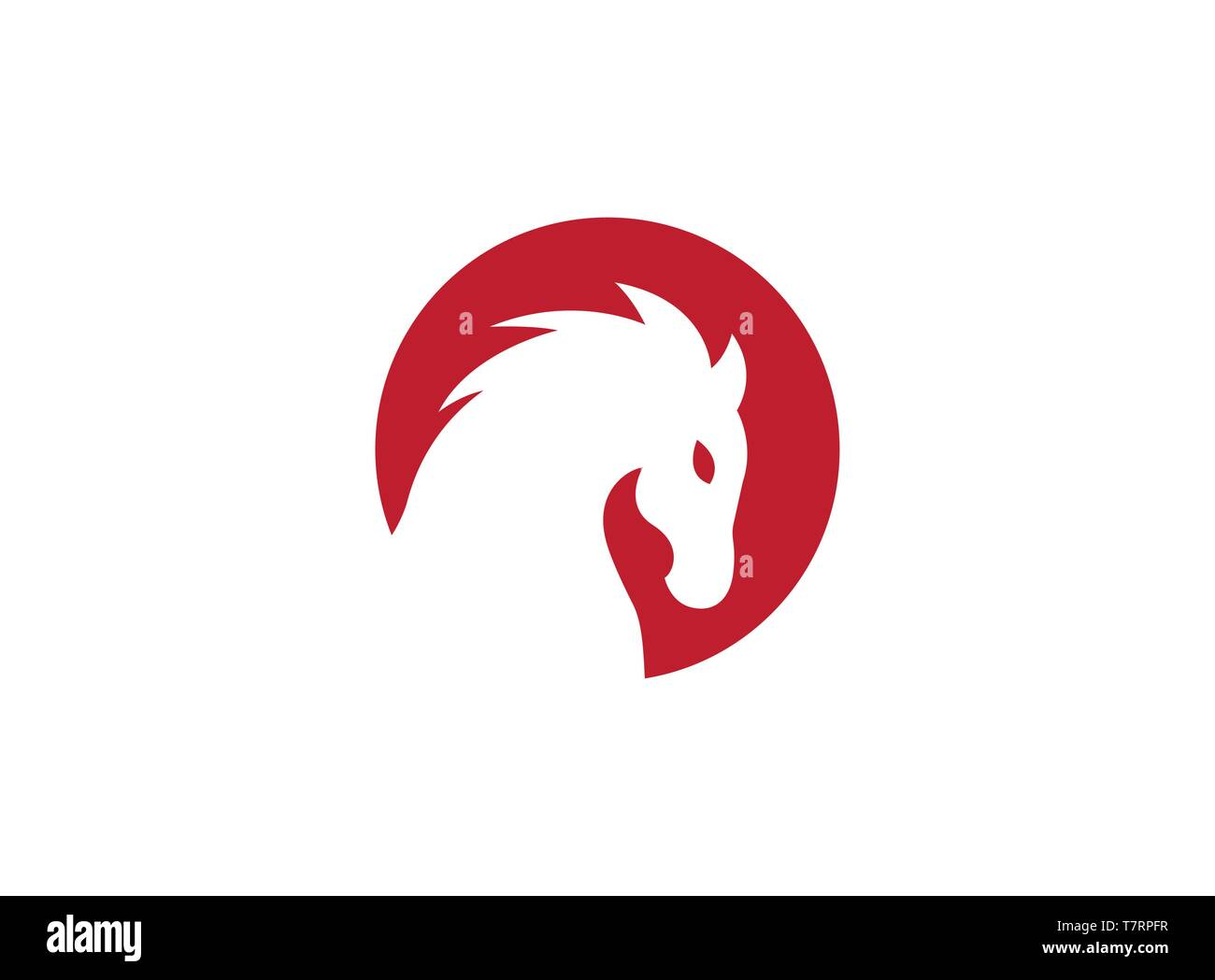 Horse head inside a red circle for logo - Stock Image