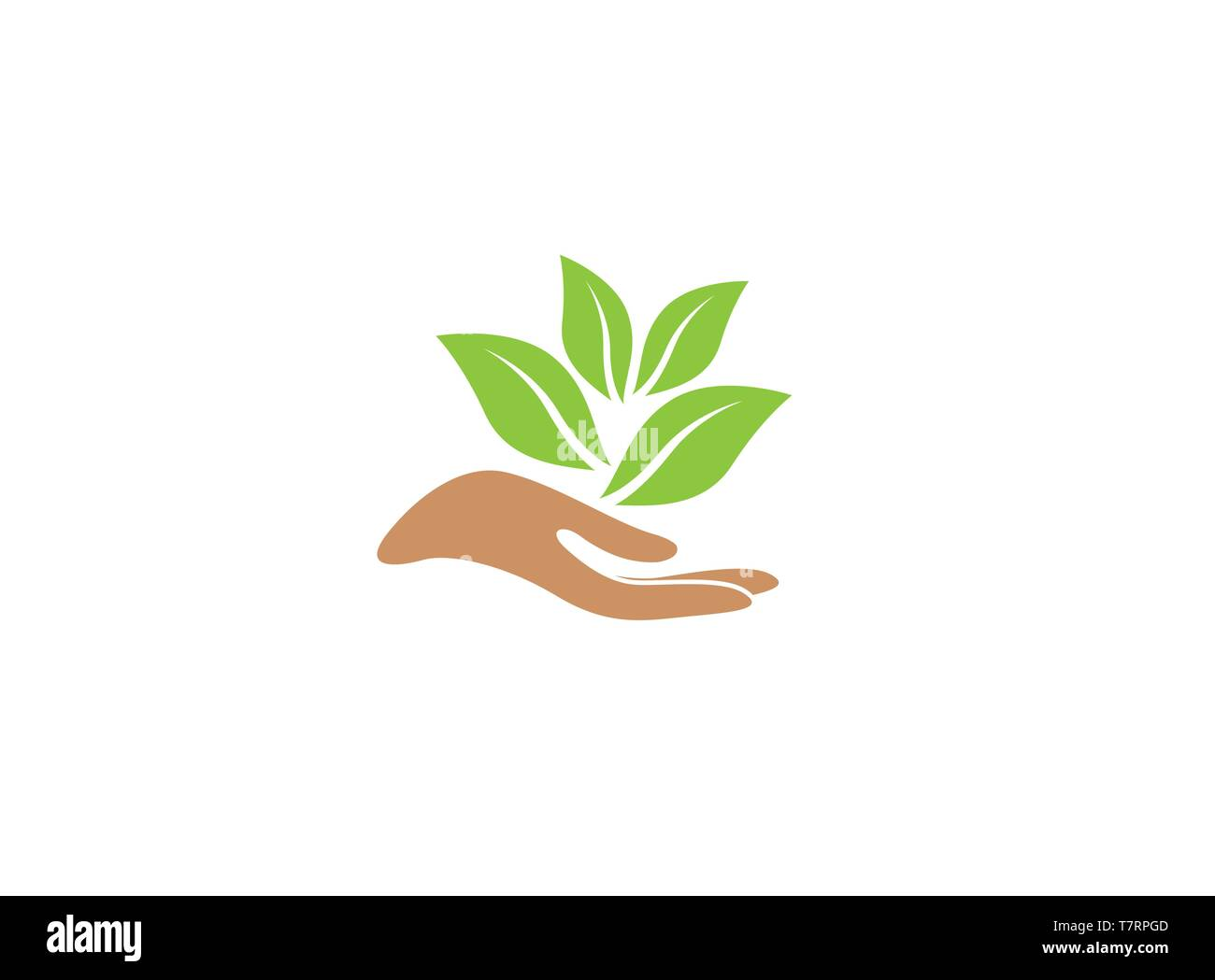 hand and leaves for plant care for logo - Stock Vector