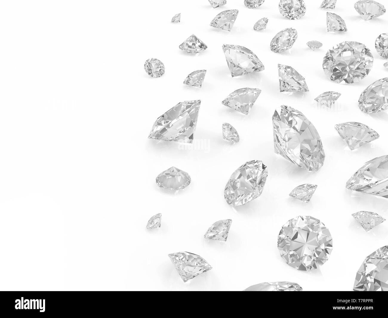 Diamonds isolated on white background with place for your text - Stock Image