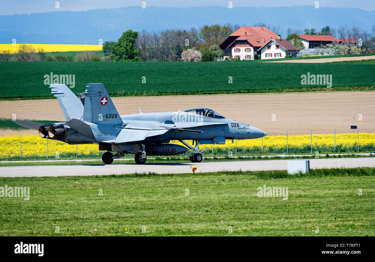 McDonnell Douglas F/A-18C Hornet of the Swiss Air Force before take-off in a picturesque landscape, Payerne, Switzerland - Stock Image