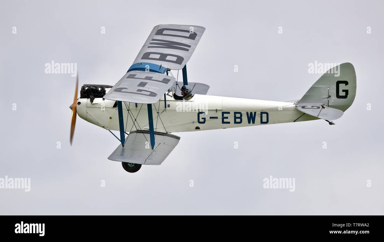 "1928 de Havilland DH.60X Moth ""G-EBWD"" airborne at Shuttleworth season premiere on the 5 May 2019 - Stock Image"