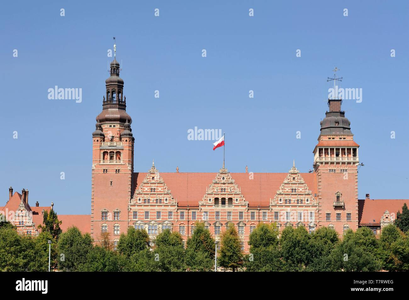 Poland, West Pomeranian, Szczecin, the Chrobry ramparts named from Boleslaw I the Brave, the first Polish king, Boleslaw I Chrobry, head of the department (West Pomeranian Voivodeship) Stock Photo