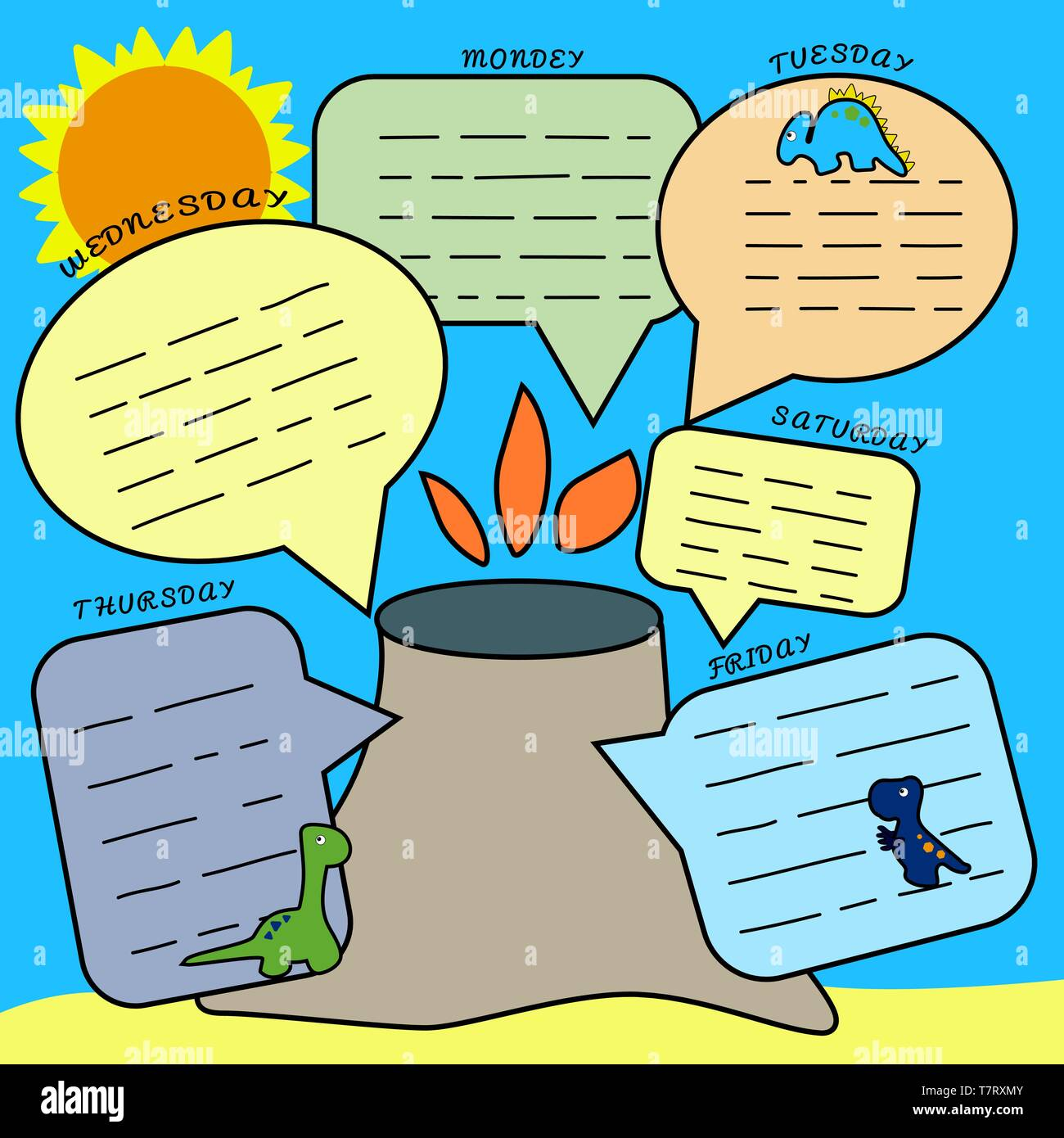 Dino Planner. Print to schedule lessons, to-do list. For schoolchildren and preschoolers. Dinosaurs and an island with a volcano, the sun. Weekly - Stock Vector