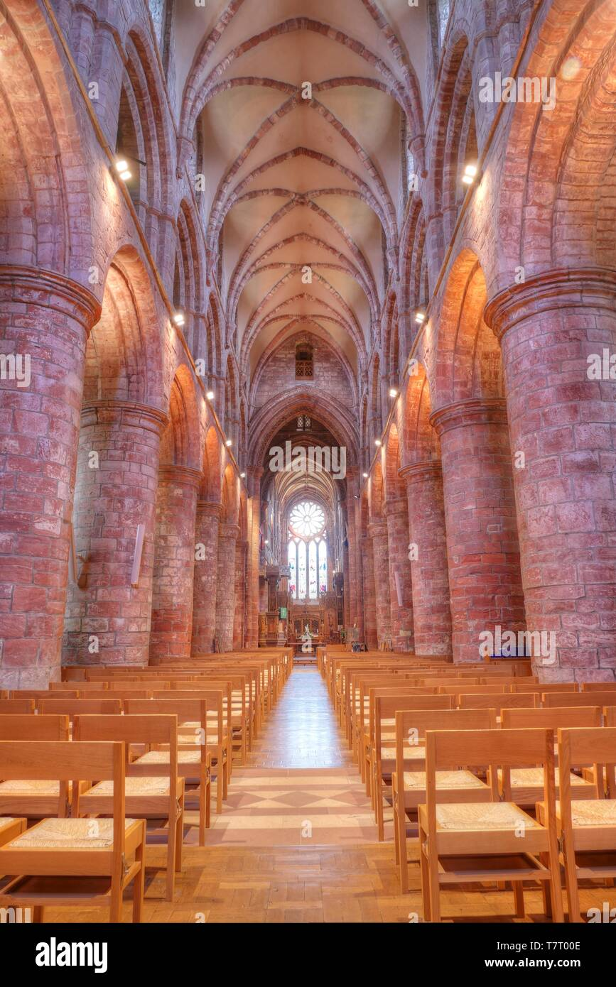 The nave of St. Magnus Cathedral, Kirkwall, Orkney, Scotland, UK - Stock Image