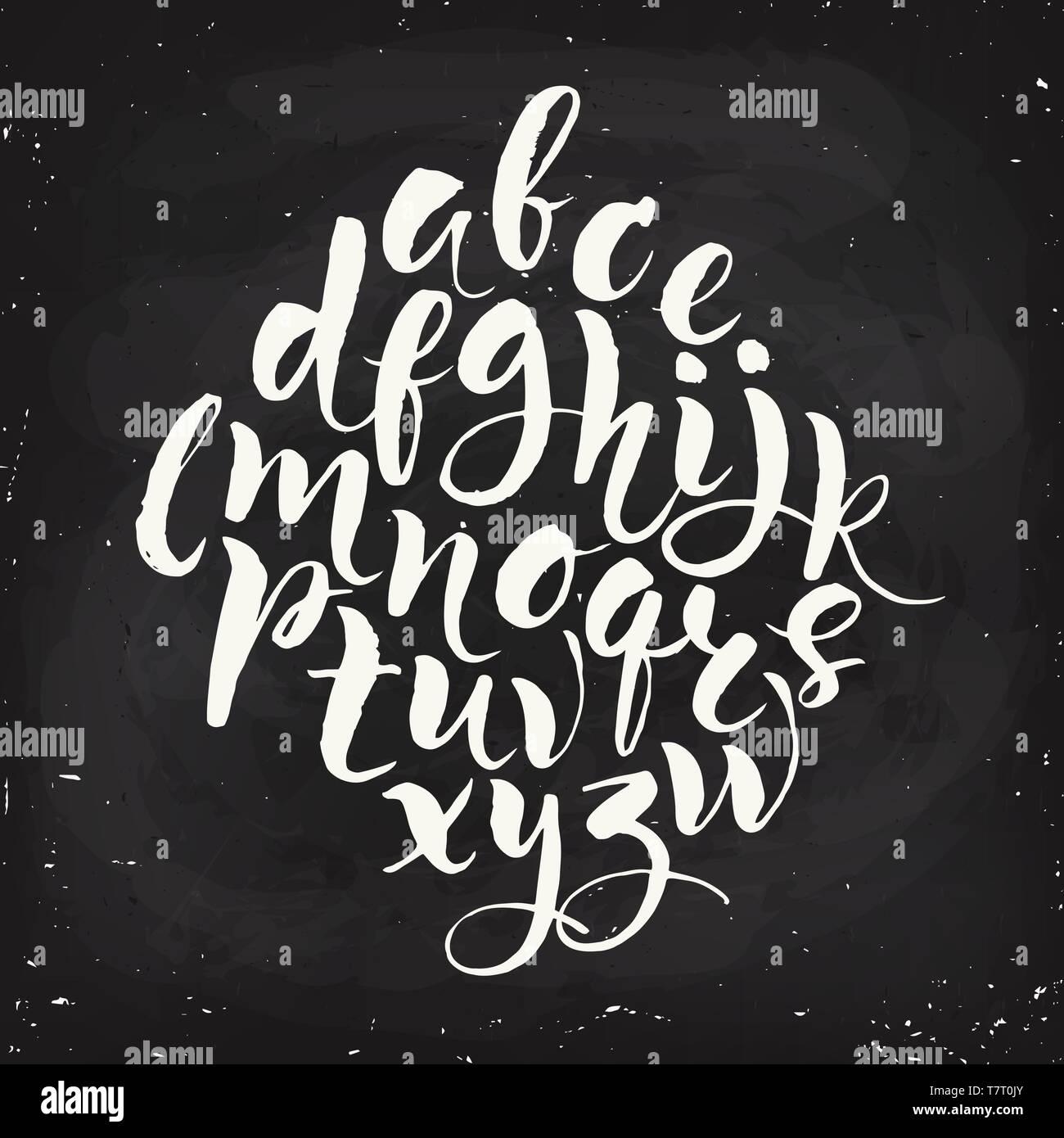 Vector modern calligraphic hand written alphabet set - Stock Vector