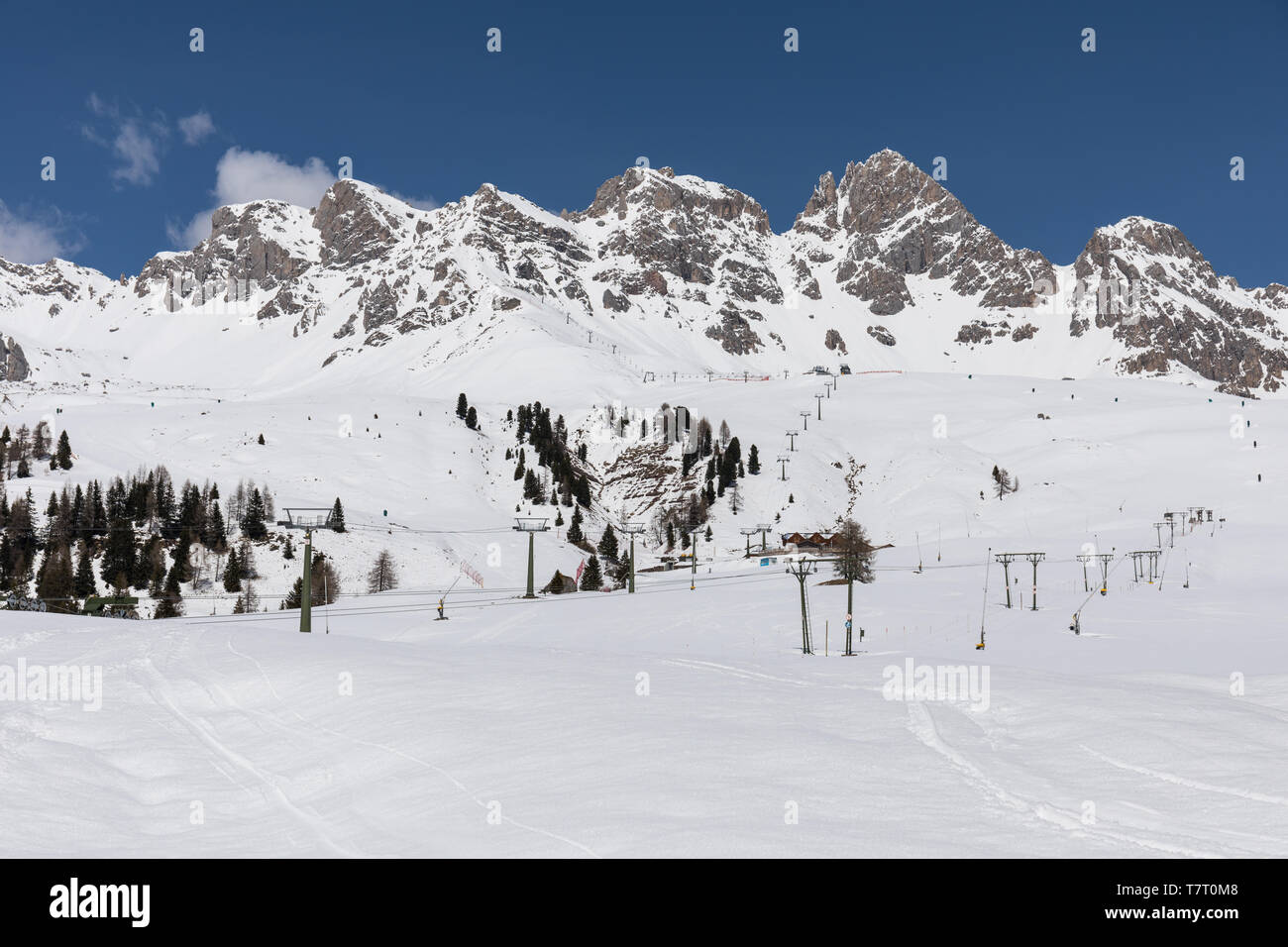 San Pellegrino ski resort in the Dolomites, Italy Stock Photo