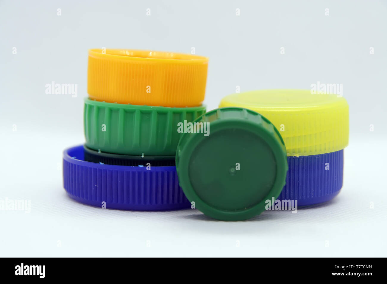 Plastic bottle plug. Plastic bottle cap. Various colors plastic cap. - Stock Image
