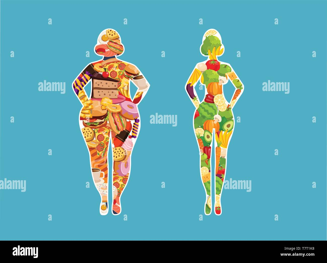 Vector of a fit woman eating healthy green vegetables food and a fat girl eating junk food. Diet choice concept. - Stock Vector