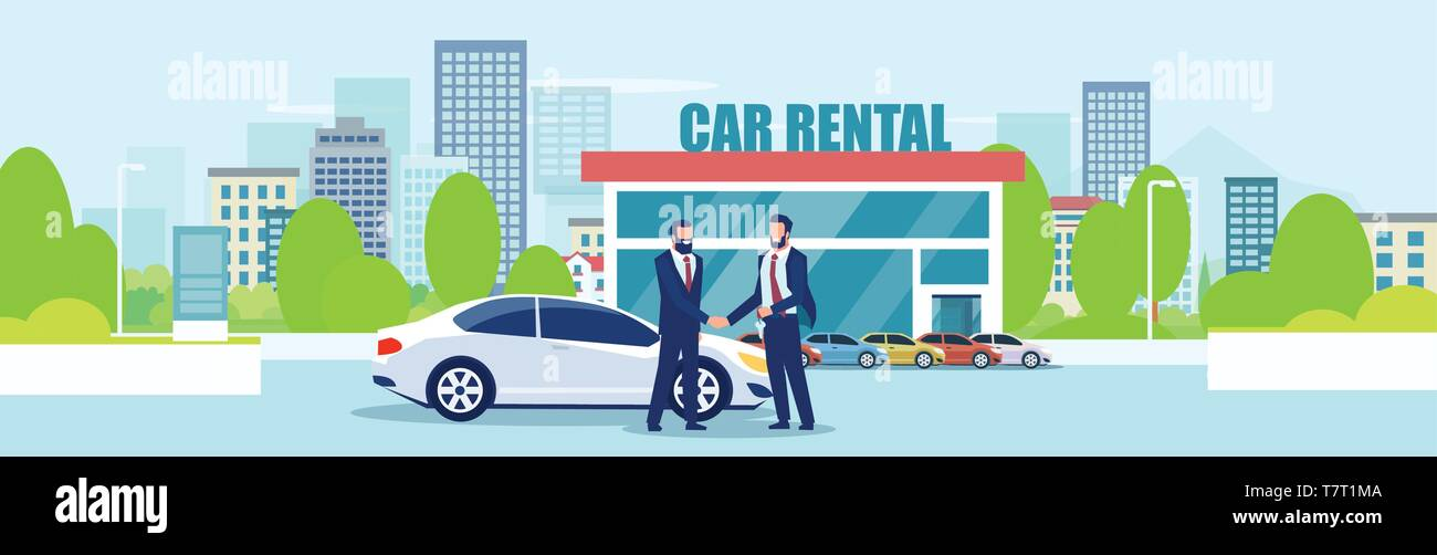 Sale Or Car Rental Concept Vector Of A Salesman Giving Automobile Keys To A Customer On A City Showroom Background Stock Vector Image Art Alamy