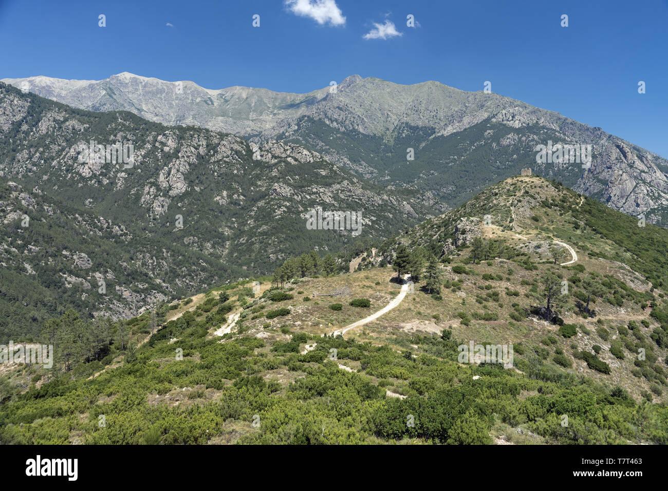 Ruins of a fortress in the Corsican mountains. Ruinen einer Festung in den korsischen Bergen. Ruiny twierdzy w górach Korsyki. - Stock Image