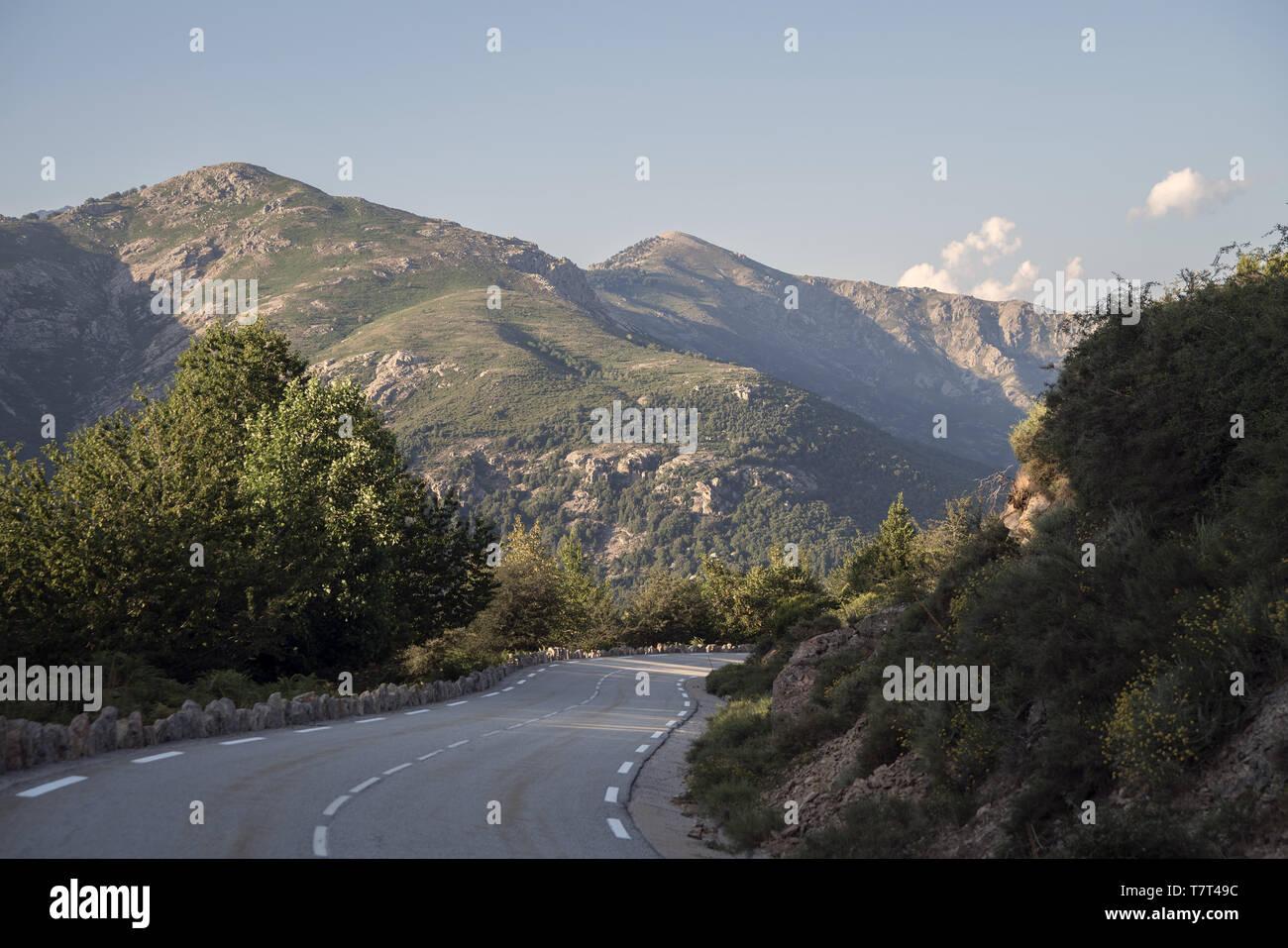 Road among the hills in the rays of the setting sun. Straße zwischen den Hügeln in den Strahlen der untergehenden Sonne. Droga przez góry. - Stock Image