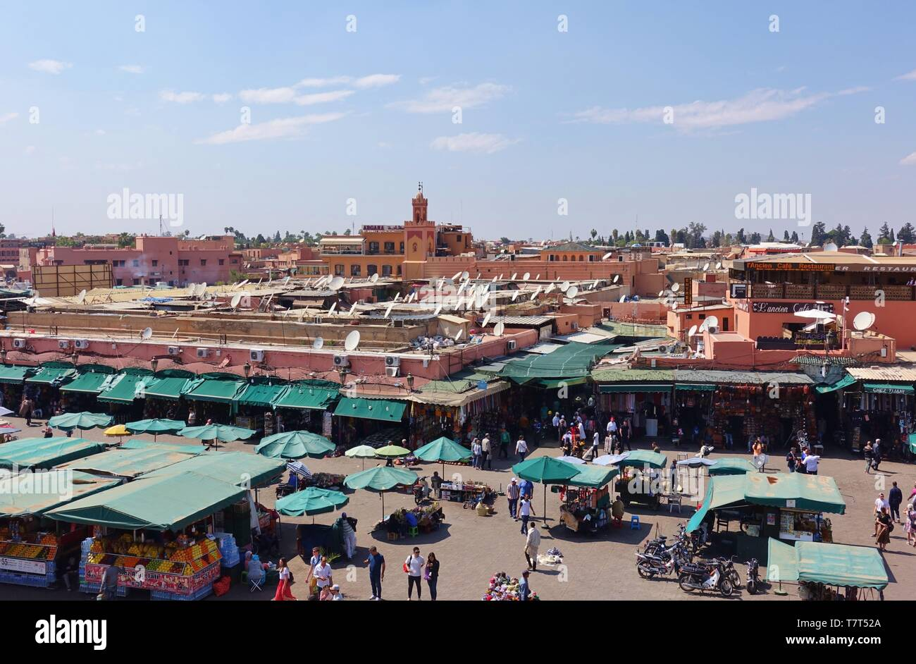 MARRAKESH, MOROCCO –29 MAR 2019- Day view of the Jemaa el-Fnaa, a landmark square and market place and major tourist attraction in Marrakesh, Morocco. Stock Photo