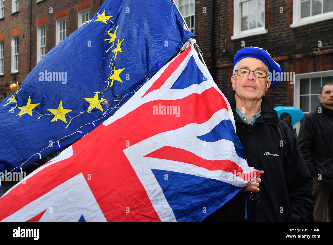 London, UK. 8th May, 2018. Dash Arts host an anti-Brexit European Flash Mob playing Beethoven's 9th Symphony (Ode to Joy) at Parliament Yard, Westminster Abbey and St John Smith Square ahead of the European Paliament Election on 8 May 2019, London, UK. Credit: Picture Capital/Alamy Live News - Stock Image