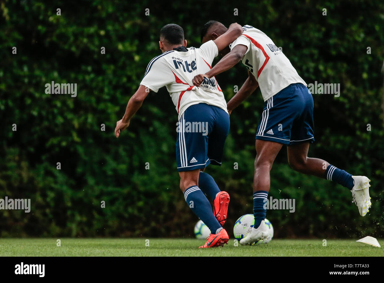 Sao Paulo, Brazil. 08th May, 2019. Training of Sao Paulo - Brenner (e) and Helinho during training of Sao Paulo at CT Barra Funda. Credit: AGIF/Alamy Live News - Stock Image