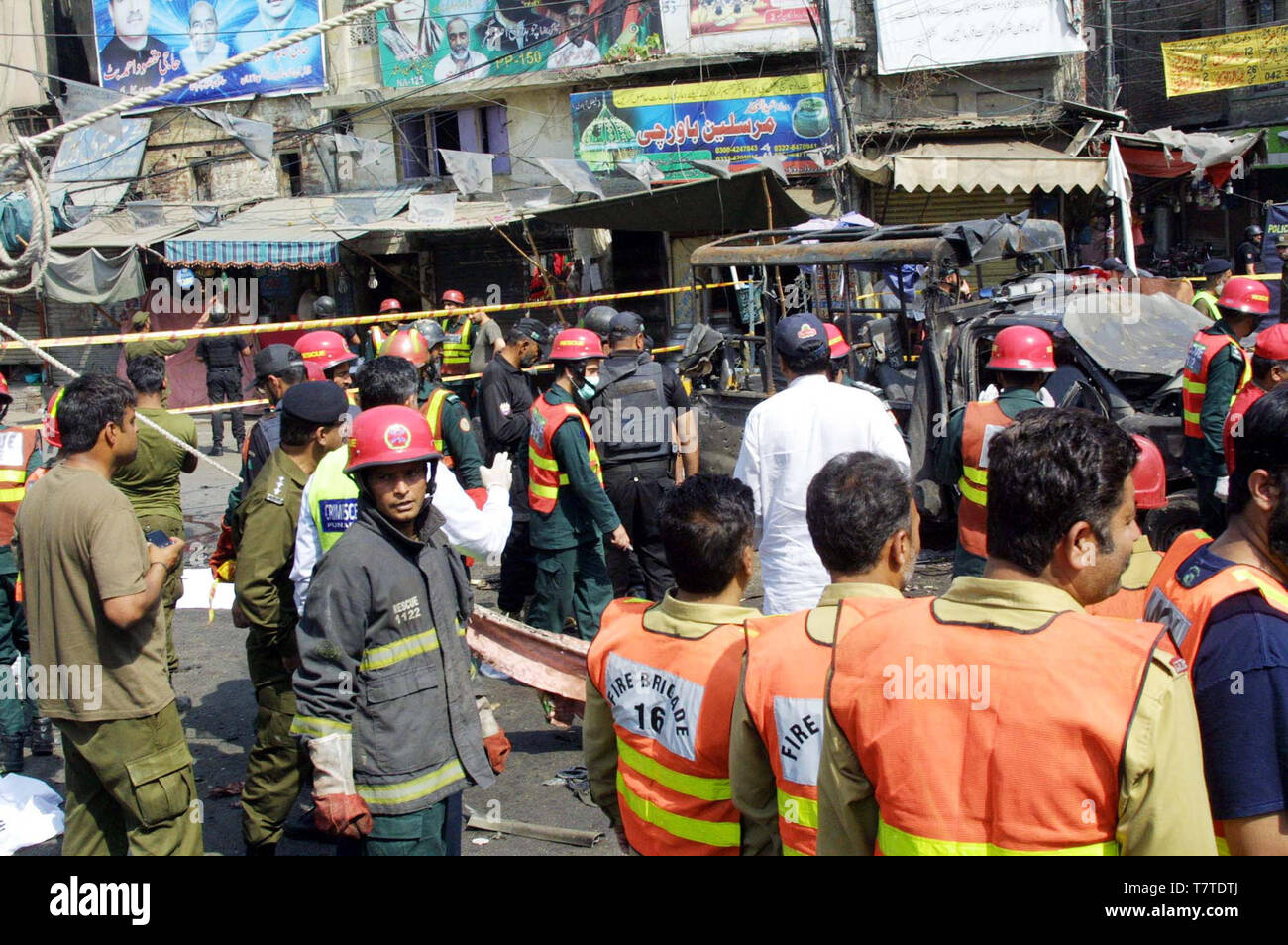 Views of venue after bomb blast occurred outside Data Darbar in Lahore on Wednesday, May 08, 2019. At least eight people five policemen and three civilians were killed and 26 others injured in what officials described as a suicide bombing targeting an Elite Force van detailed to the security of the Data Darbar shrine in Lahore. - Stock Image