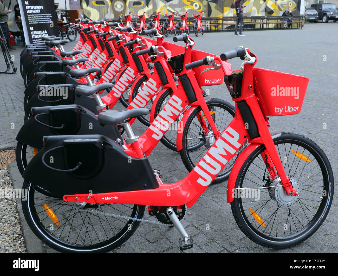 Berlin, Germany  09th May, 2019  Jump electric bicycles from