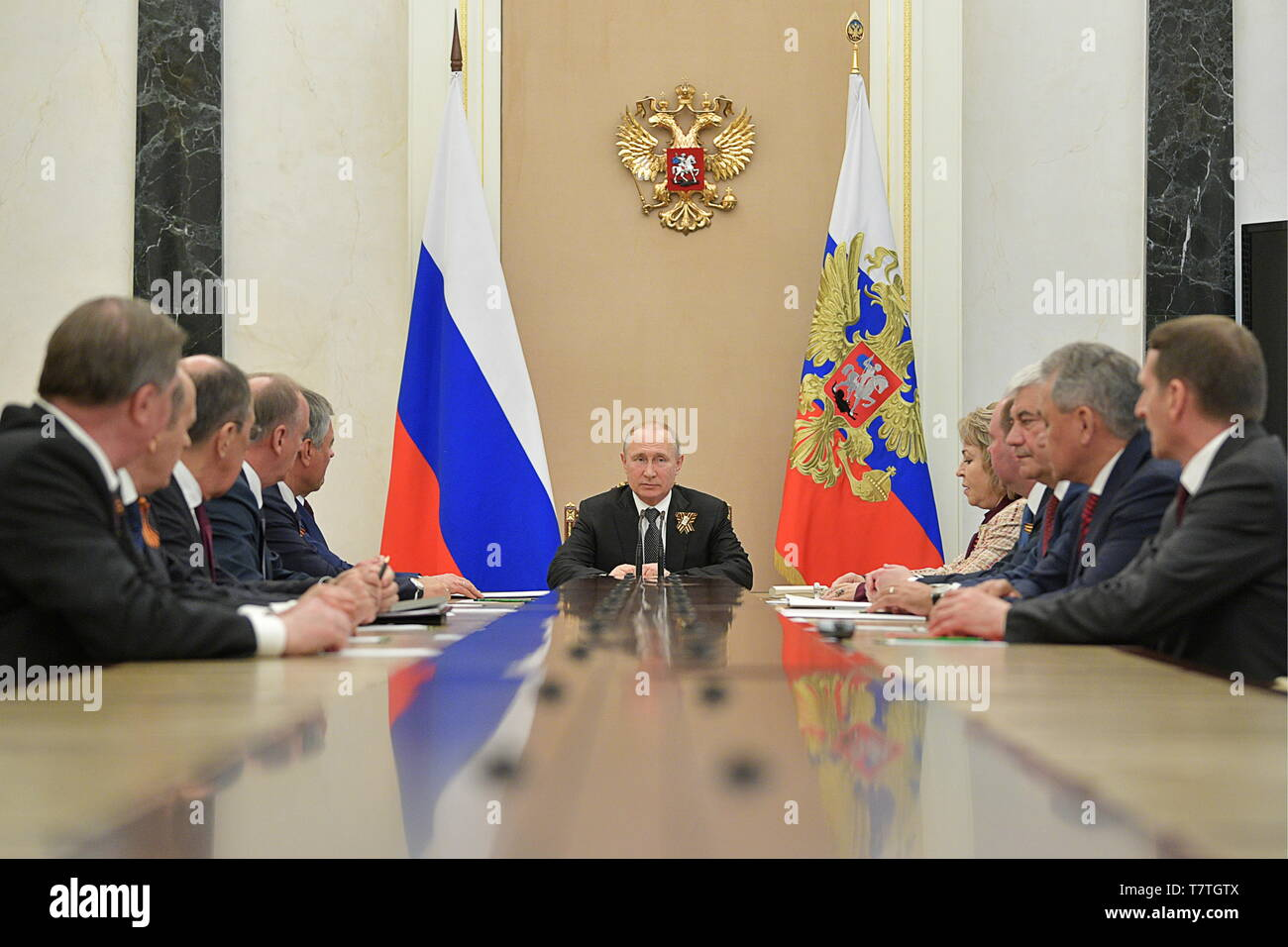 Moscow, Russia. 09th May, 2019. MOSCOW, RUSSIA - MAY 9, 2019: Russia's President Vladimir Putin (C) during a meeting with permanent members of the Russian Security Council at the Moscow Kremlin. Alexei Druzhinin/Russian Presidential Press and Information Office/TASS Credit: ITAR-TASS News Agency/Alamy Live News - Stock Image