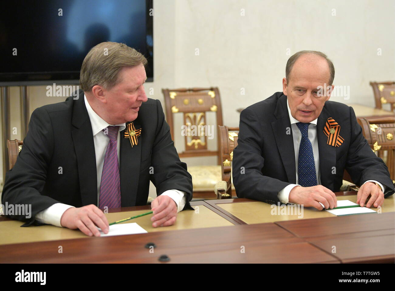 Moscow, Russia. 09th May, 2019. MOSCOW, RUSSIA - MAY 9, 2019: Sergei Ivanov (L), Russia's Special Presidential Envoy for Environmental Protection, Ecology and Transport, and Alexander Bortnikov, Head of the Russian Federal Security Service, ahead of a meeting between Russia's President Vladimir Putin and permanent members of the Russian Security Council at the Moscow Kremlin. Alexei Druzhinin/Russian Presidential Press and Information Office/TASS Credit: ITAR-TASS News Agency/Alamy Live News - Stock Image