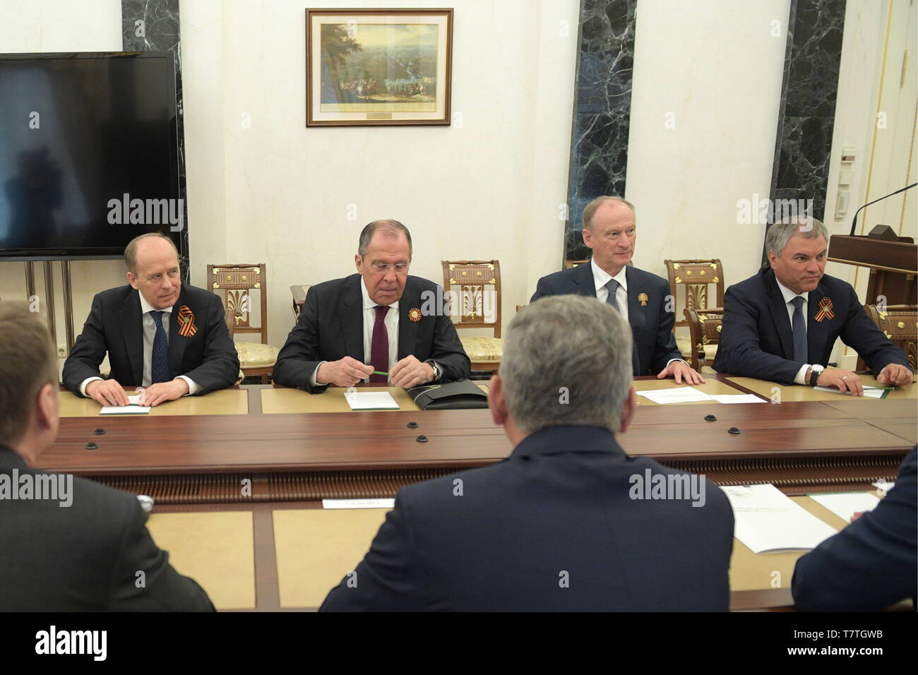 Moscow, Russia. 09th May, 2019. MOSCOW, RUSSIA - MAY 9, 2019: Alexander Bortnikov, Head of the Russian Federal Security Service, Russia's Foreign Minister Sergei Lavrov, Security Council Secretary Nikolai Patrushev and State Duma Chairman Vyacheslav Volodin (L-R) ahead of a meeting between Russia's President Vladimir Putin and permanent members of the Russian Security Council at the Moscow Kremlin. Alexei Druzhinin/Russian Presidential Press and Information Office/TASS Credit: ITAR-TASS News Agency/Alamy Live News - Stock Image