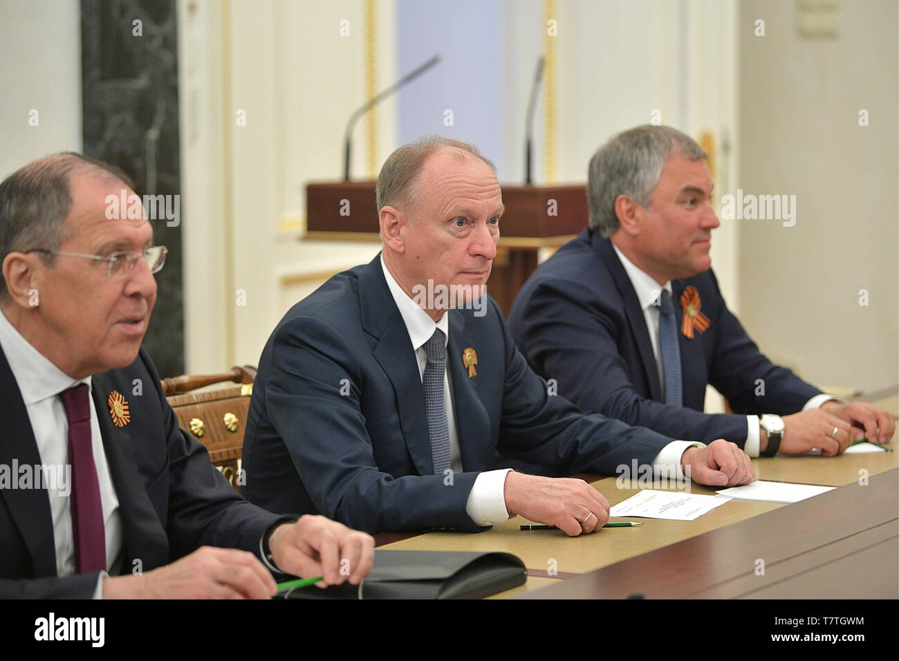 Moscow, Russia. 09th May, 2019. MOSCOW, RUSSIA - MAY 9, 2019: Russia's Foreign Minister Sergei Lavrov, Security Council Secretary Nikolai Patrushev and State Duma Chairman Vyacheslav Volodin (L-R) ahead of a meeting between Russia's President Vladimir Putin and permanent members of the Russian Security Council at the Moscow Kremlin. Alexei Druzhinin/Russian Presidential Press and Information Office/TASS Credit: ITAR-TASS News Agency/Alamy Live News - Stock Image