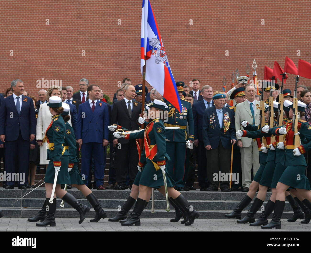 MOSCOW, RUSSIA - MAY 9, 2019: Russian State Duma Chairman Vyacheslav Volodin, Russian Federation Council Chairwoman Valentina Matviyenko, Russia's Prime Minister Dmitry Medvedev, Russia's President Vladimir Putin, Russia's Defence Minister Sergei Shoigu (L-R back) during a ceremony to lay flowers at the Tomb of the Unknown Soldier by the Kremlin Wall during celebrations marking the 74th anniversary of the victory of the Soviet Red Army over Nazi Germany in the Great Patriotic War of 1941-45, the Eastern Front of the Second World War. Alexei Druzhinin/Russian Presidential Press and Information - Stock Image