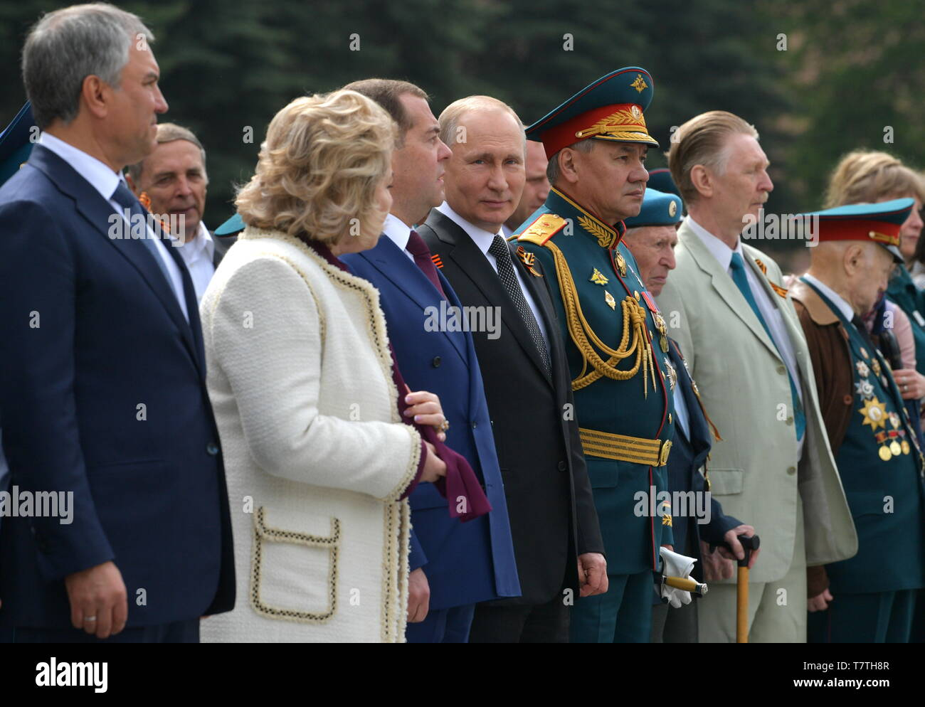 MOSCOW, RUSSIA - MAY 9, 2019: Russian State Duma Chairman Vyacheslav Volodin, Russian Federation Council Chairwoman Valentina Matviyenko, Russia's Prime Minister Dmitry Medvedev, Russia's President Vladimir Putin, Russia's Defence Minister Sergei Shoigu (L-R) during a ceremony to lay flowers at the Tomb of the Unknown Soldier by the Kremlin Wall during celebrations marking the 74th anniversary of the victory of the Soviet Red Army over Nazi Germany in the Great Patriotic War of 1941-45, the Eastern Front of the Second World War. Alexei Druzhinin/Russian Presidential Press and Information Offic - Stock Image