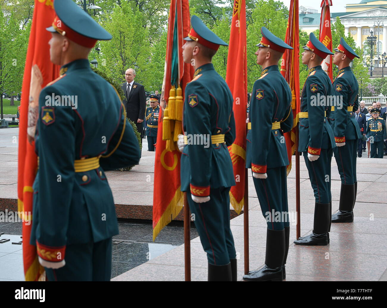 Moscow, Russia. 09th May, 2019. MOSCOW, RUSSIA - MAY 9, 2019: Russia's President Vladimir Putin, Russia's Defence Minister Sergei Shoigu (L-R back) during a ceremony to lay flowers at the Tomb of the Unknown Soldier by the Kremlin Wall during celebrations marking the 74th anniversary of the victory of the Soviet Red Army over Nazi Germany in the Great Patriotic War of 1941-45, the Eastern Front of the Second World War. Alexei Druzhinin/Russian Presidential Press and Information Office/TASS Credit: ITAR-TASS News Agency/Alamy Live News - Stock Image