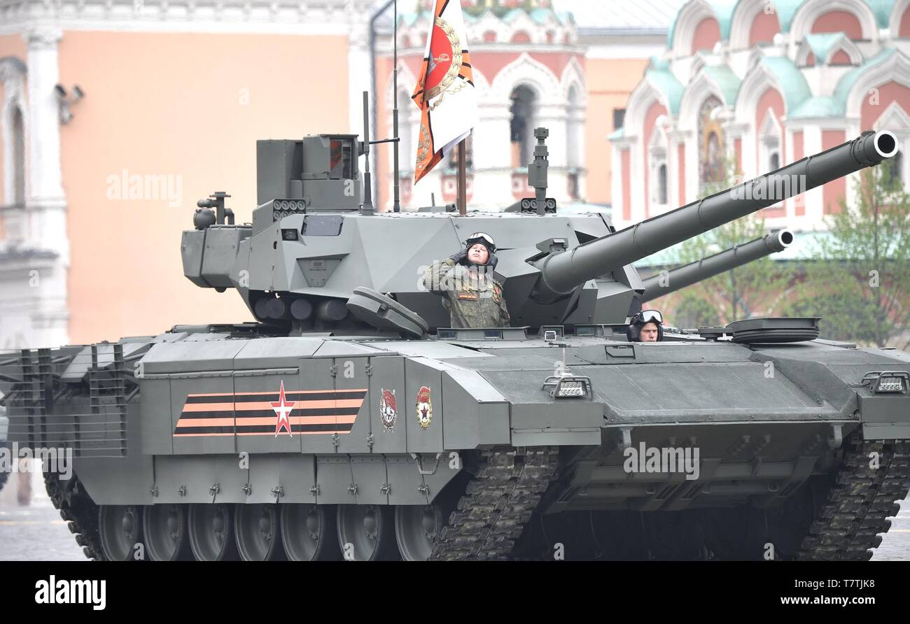 Moscow, Russia. 09th May, 2019. Russian soldiers parade past the review stand in a T-14 Armata main battle tank during the annual Victory Day military parade marking the 74th anniversary of the end of World War II in Red Square May 9, 2019 in Moscow, Russia. Russia celebrates the annual event known as the Victory in the Great Patriotic War with parades and a national address by President Vladimir Putin. Credit: Planetpix/Alamy Live News - Stock Image