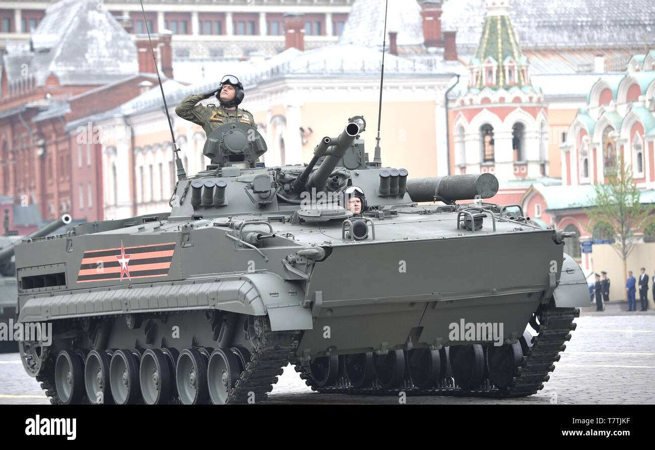 Moscow, Russia. 09th May, 2019. Russian soldiers parade past the review stand in a BMP-3 infantry fighting vehicle during the annual Victory Day military parade marking the 74th anniversary of the end of World War II in Red Square May 9, 2019 in Moscow, Russia. Russia celebrates the annual event known as the Victory in the Great Patriotic War with parades and a national address by President Vladimir Putin. Credit: Planetpix/Alamy Live News - Stock Image