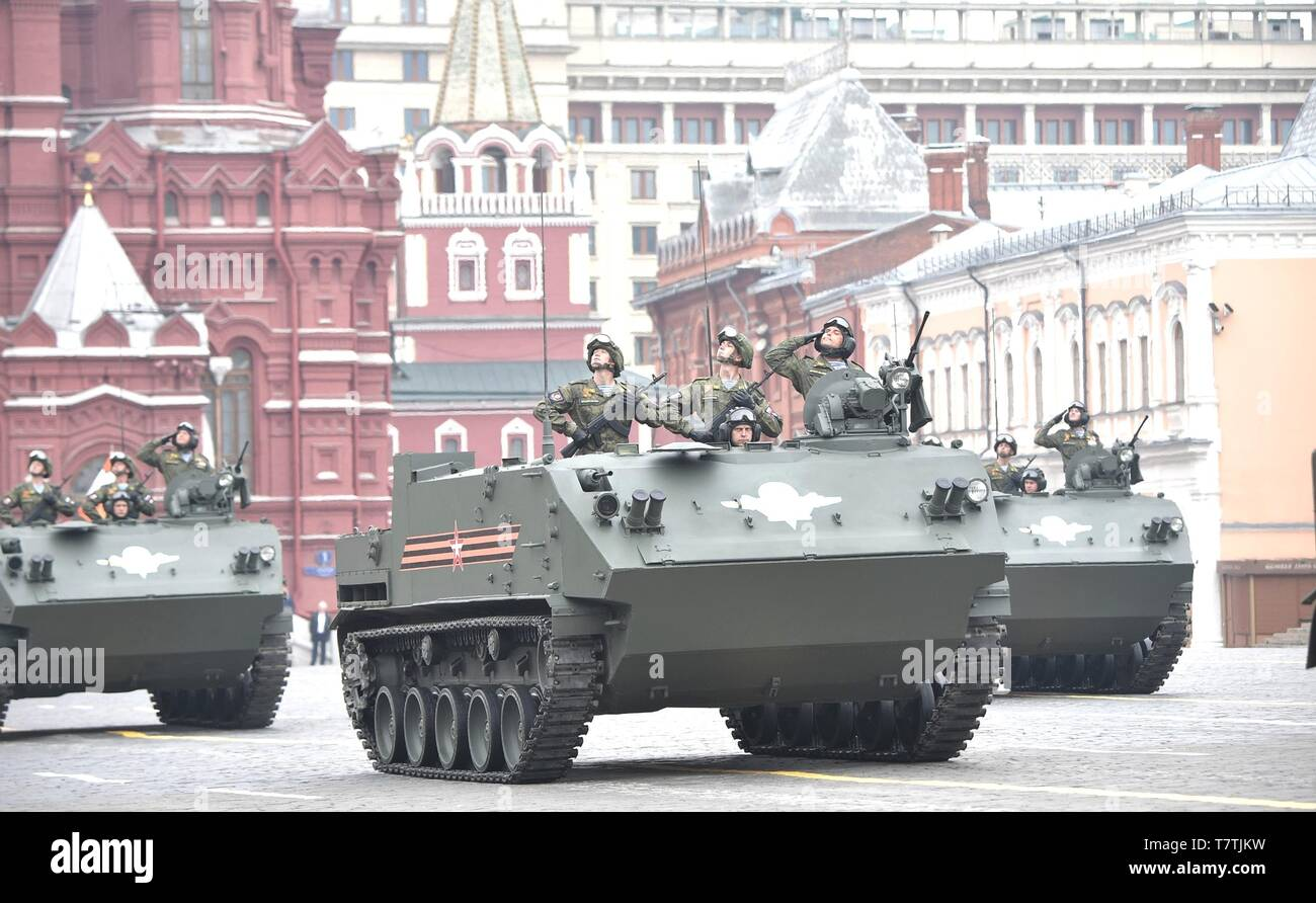 Moscow, Russia. 09th May, 2019. Russian soldiers parade past the review stand in a BTR-MDM armoured personnel carrier during the annual Victory Day military parade marking the 74th anniversary of the end of World War II in Red Square May 9, 2019 in Moscow, Russia. Russia celebrates the annual event known as the Victory in the Great Patriotic War with parades and a national address by President Vladimir Putin. Credit: Planetpix/Alamy Live News - Stock Image