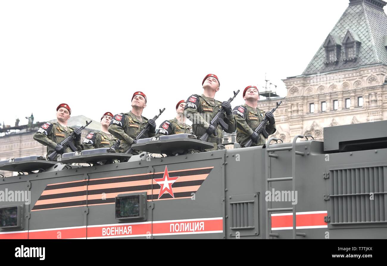 Moscow, Russia. 09th May, 2019. Russian soldiers parade past the review stand in Armoured Personnel Carriers during the annual Victory Day military parade marking the 74th anniversary of the end of World War II in Red Square May 9, 2019 in Moscow, Russia. Russia celebrates the annual event known as the Victory in the Great Patriotic War with parades and a national address by President Vladimir Putin. Credit: Planetpix/Alamy Live News - Stock Image