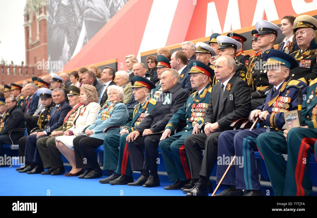 Moscow, Russia. 09th May, 2019. Russian President Vladimir Putin during the review of troops at the annual Victory Day military parade marking the 74th anniversary of the end of World War II in Red Square May 9, 2019 in Moscow, Russia. Russia celebrates the annual event known as the Victory in the Great Patriotic War with parades and a national address by President Vladimir Putin. Credit: Planetpix/Alamy Live News - Stock Image