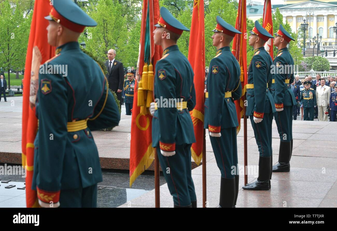 Moscow, Russia. 09th May, 2019. Russian President Vladimir Putin during a wreath ceremony at the Tomb of the Unknown soldiers following the annual Victory Day military parade marking the 74th anniversary of the end of World War II in Red Square May 9, 2019 in Moscow, Russia. Russia celebrates the annual event known as the Victory in the Great Patriotic War with parades and a national address by President Vladimir Putin. Credit: Planetpix/Alamy Live News - Stock Image