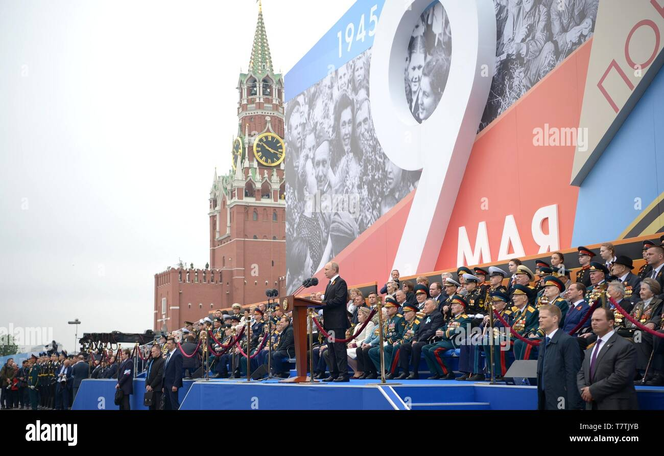 Moscow, Russia. 09th May, 2019. Russian President Vladimir Putin addresses the nation during the annual Victory Day military parade marking the 74th anniversary of the end of World War II in Red Square May 9, 2019 in Moscow, Russia. Russia celebrates the annual event known as the Victory in the Great Patriotic War with parades and a national address by President Vladimir Putin. Credit: Planetpix/Alamy Live News - Stock Image