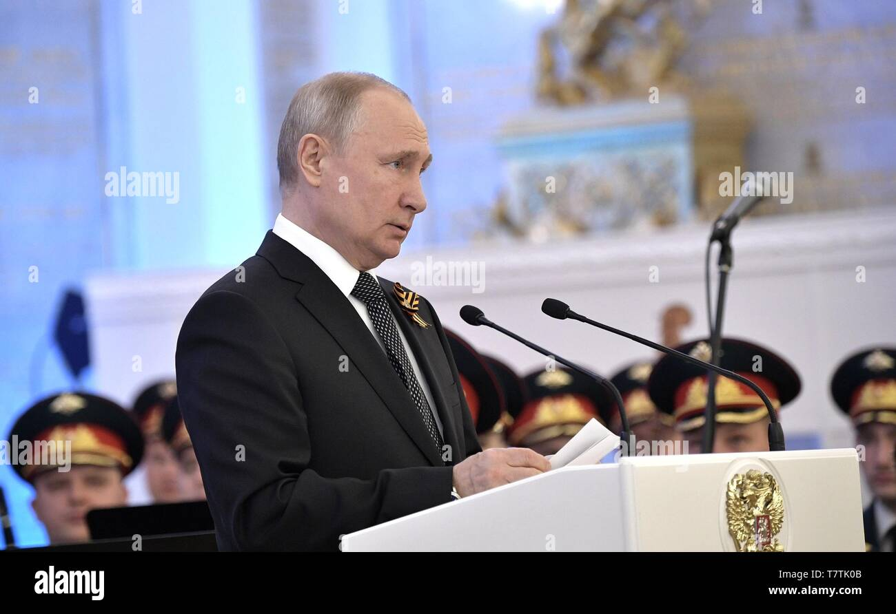 Moscow, Russia. 09th May, 2019. Russian President Vladimir Putin delivers an address at a reception marking the 74th anniversary of the end of World War II at the Kremlin May 9, 2019 in Moscow, Russia. Credit: Planetpix/Alamy Live News - Stock Image