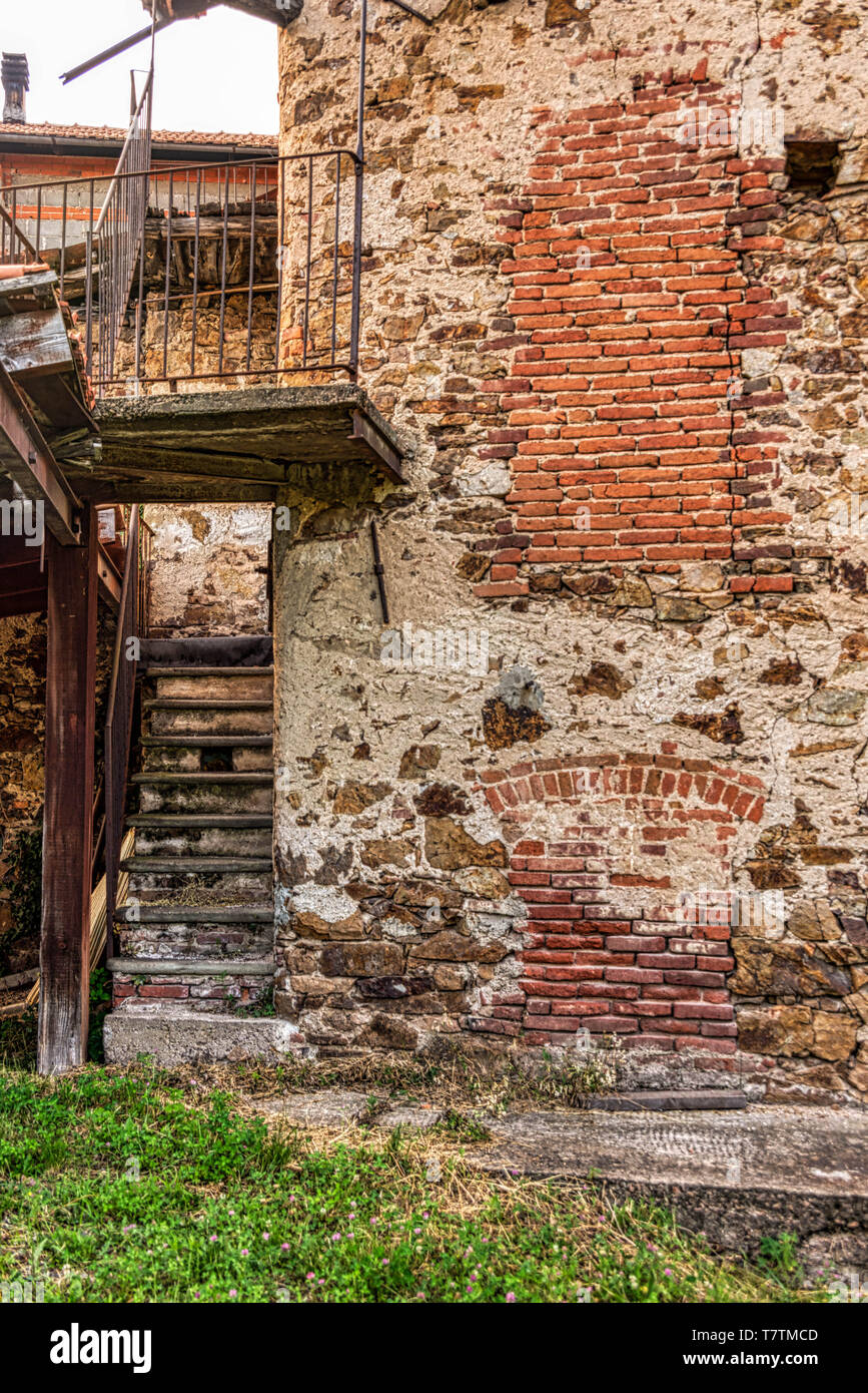 Many Italian villages have lost much of their population to big cities. This is Curino, near Biella in the beautiful hills of Piemonte - Stock Image