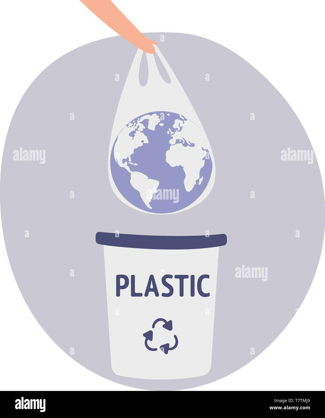 Earth in a plastic bag. Ecology conversation. Eco catastrophe. Segregation and recycling. Flat editable vector. Human hand holding the planet earth in Stock Vector