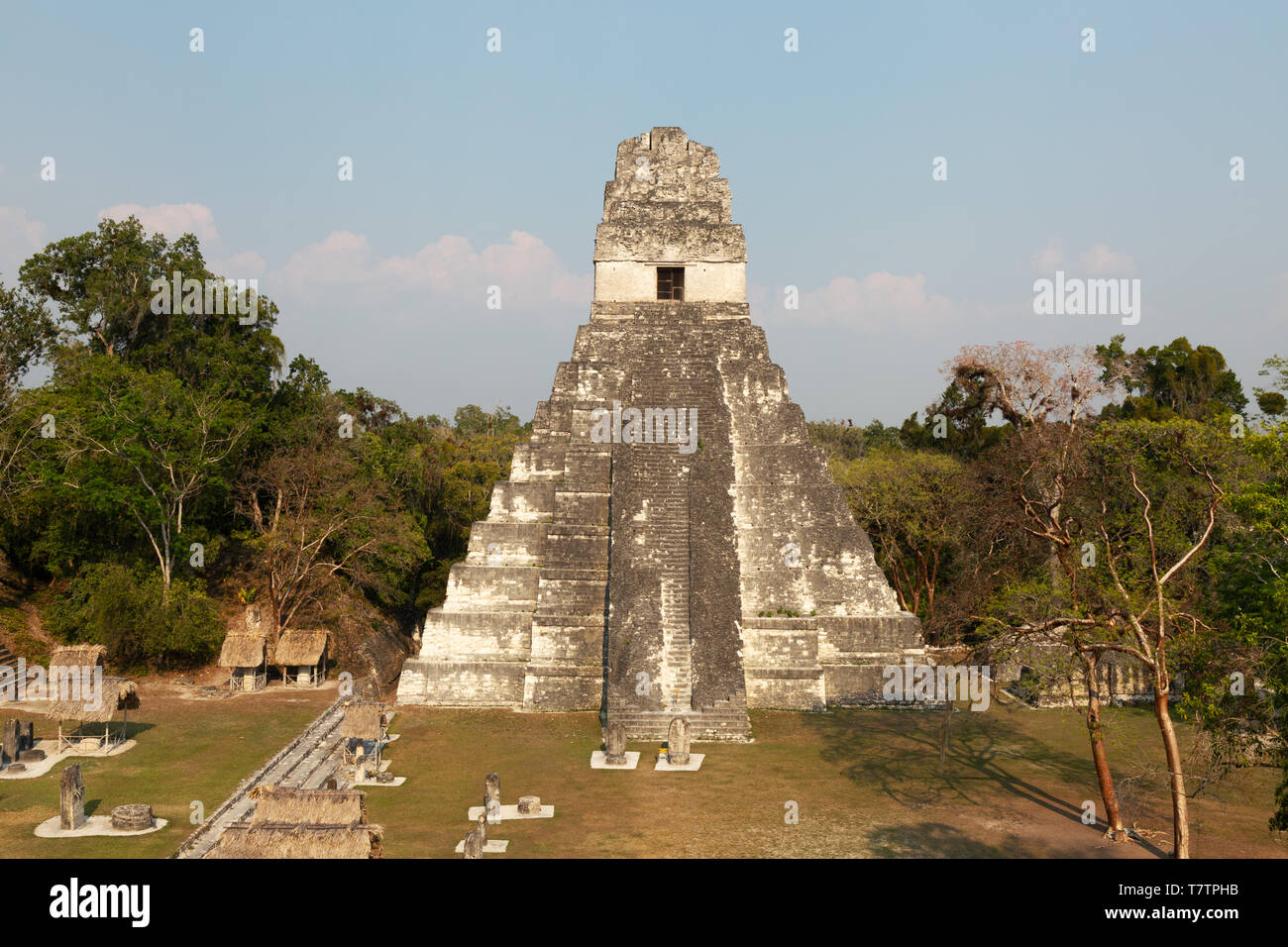 Tikal Guatemala, Temple 1, or Temple of the Great Jaguar, Mayan ruins UNESCO World Heritage site, Tikal National Park, Guatemala, Latin America - Stock Image