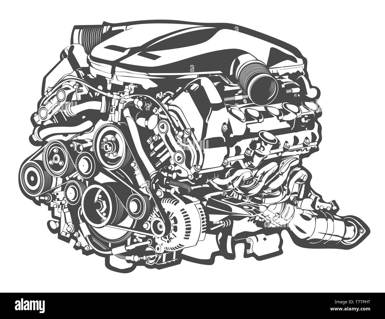 vector high detailed illustration of car engine - Stock Vector