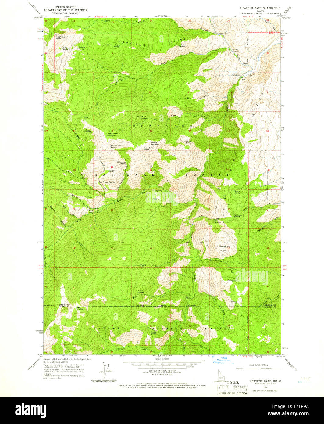 USGS TOPO Map Idaho ID Heavens Gate 236457 1964 24000 ...