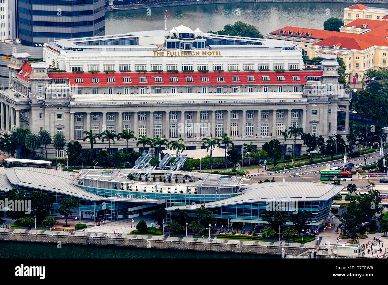 An Aerial View Of The Fullerton Hotel & One Fullerton, Singapore, South East Asia - Stock Image