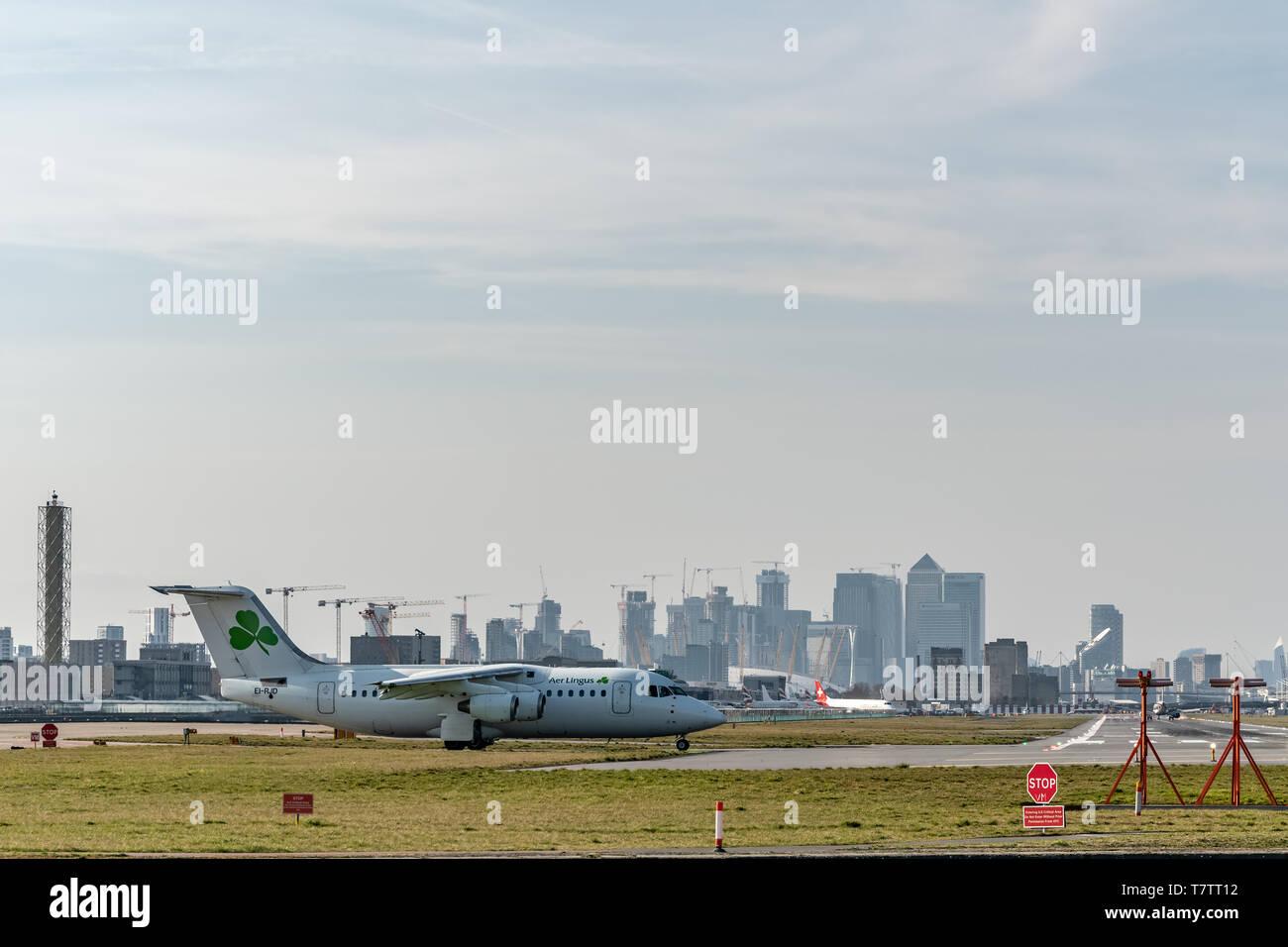 London, UK - 17, February 2019: CityJet a Irish regional airline based in Dublin, British Aerospace aircraft type Avro RJ85 at the London City Airport - Stock Image